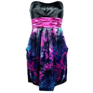 Arden B Strapless Satin Party Dress